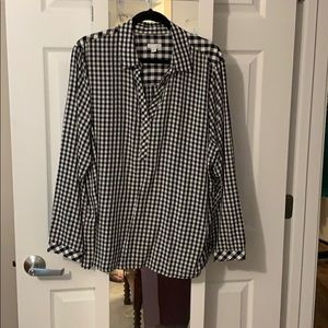 Black and white checked blouse